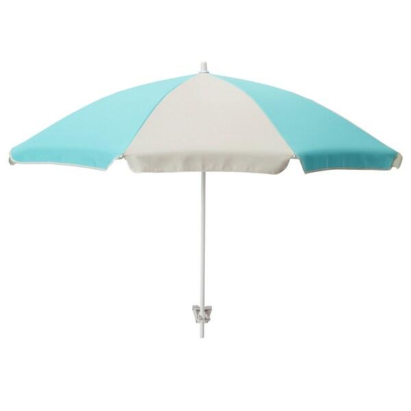 RAMSÖ Parasol, turkusowy/jasnobeżowy, 125 cm