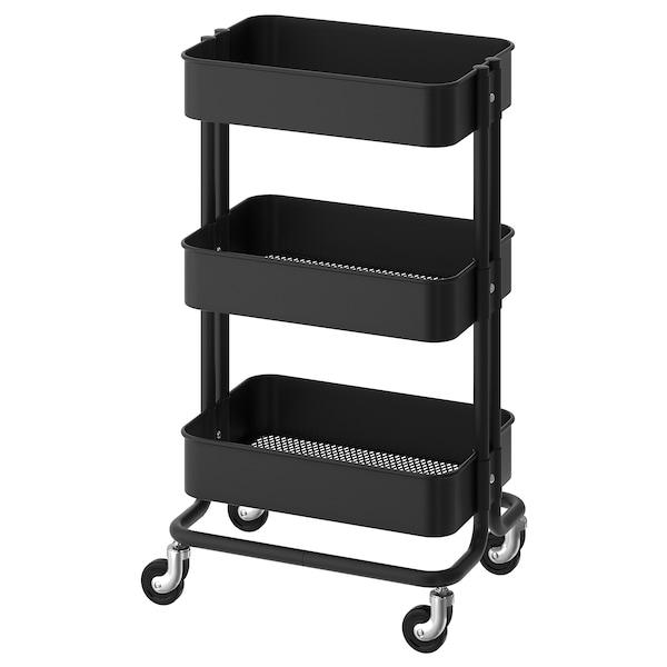 RÅSKOG Wózek, czarny, 35x45x78 cm