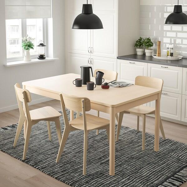 RÖNNINGE / LISABO Stół i 4 krzesła, brzoza/jesion, 155/210x90x75 cm