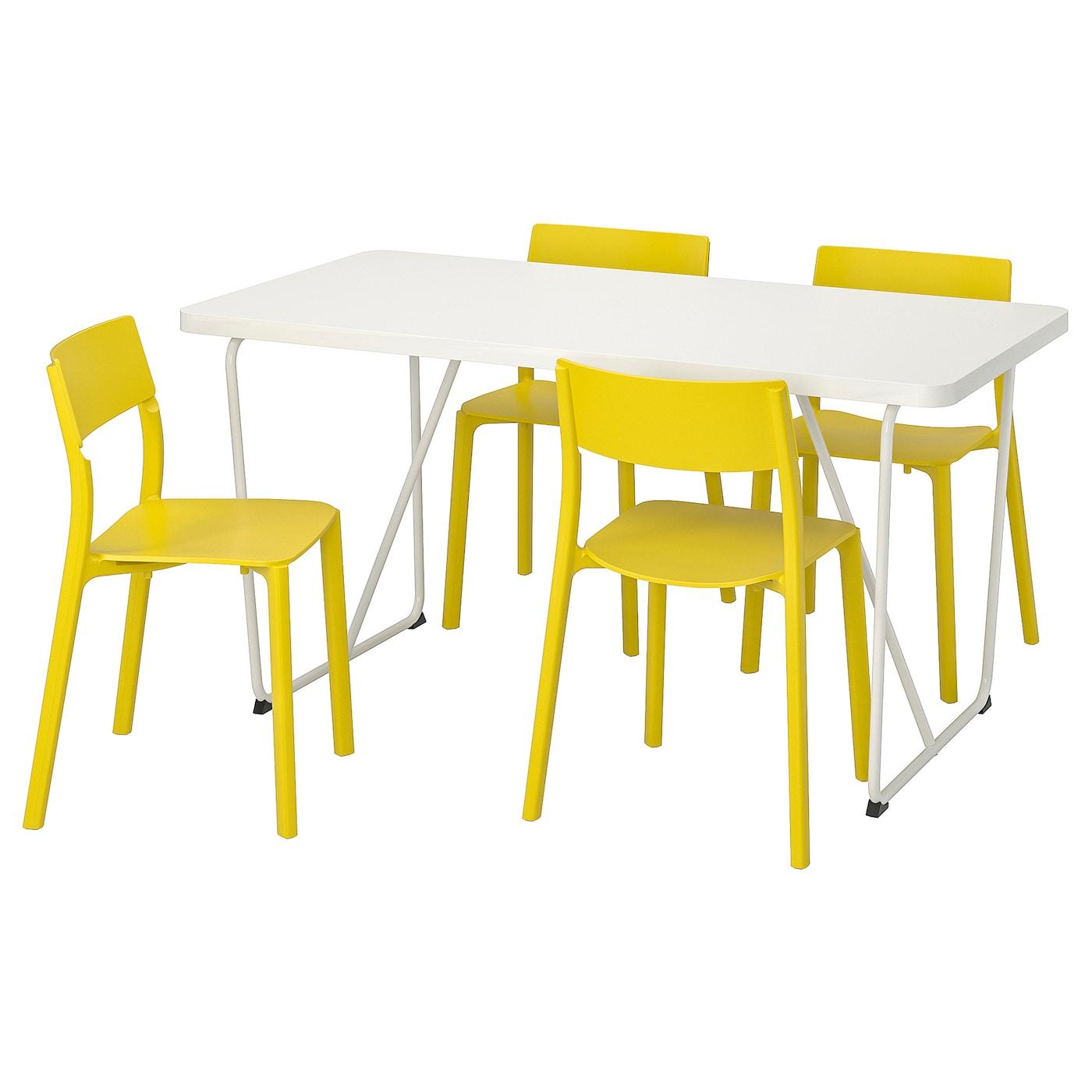 IKEA RYDEBÄCK/BACKARYD / JANINGE Stół i 4 krzesła, biały, żółty, 150 cm