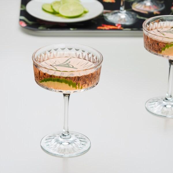 SÄLLSKAPLIG Puchar do szampana, szkło bezbarwne/wzór, 21 cl
