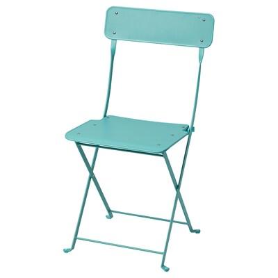 SALTHOLMEN Krzesło, ogrodowe, składany/turkusowy