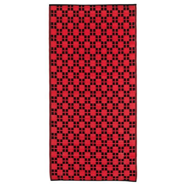 SAMMANKOPPLA Dywan tkany na płasko, czerwony/czarny, 75x150 cm