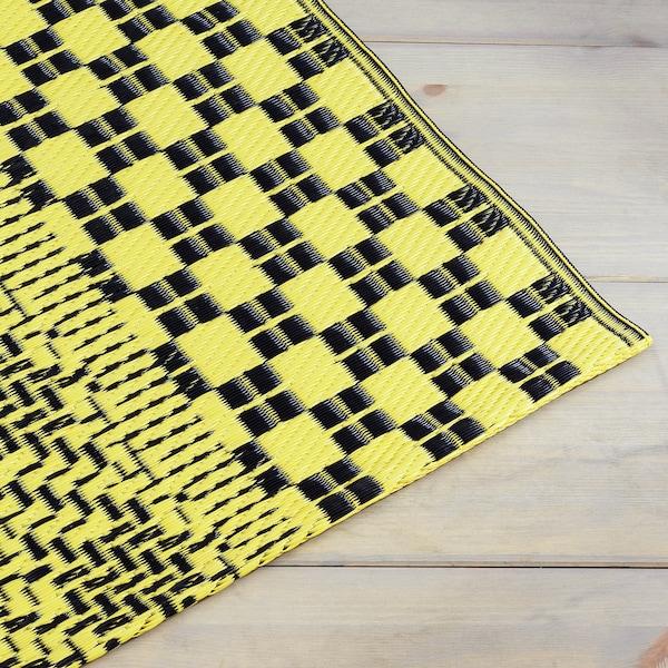 SAMMANKOPPLA Dywan tkany na płasko, żółty/czarny, 75x150 cm