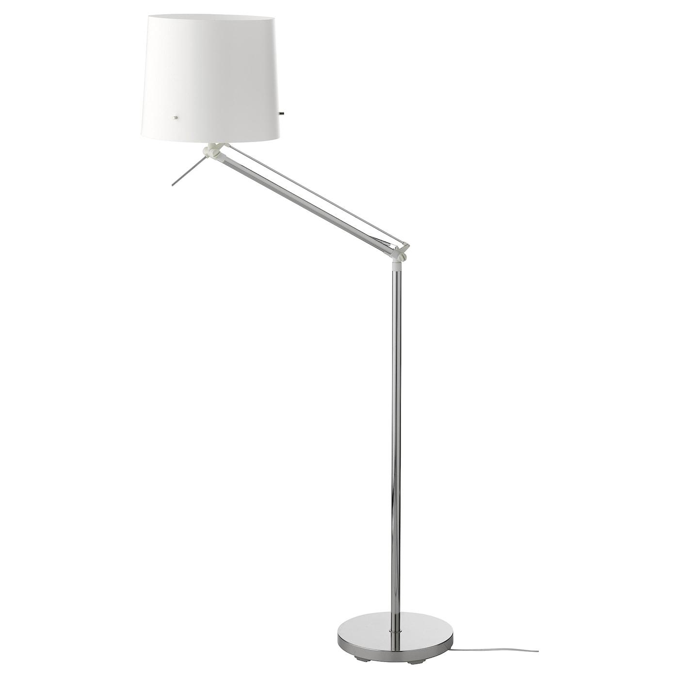 IKEA SAMTID niklowana lampa podłogowa/do czytania z białym kloszem