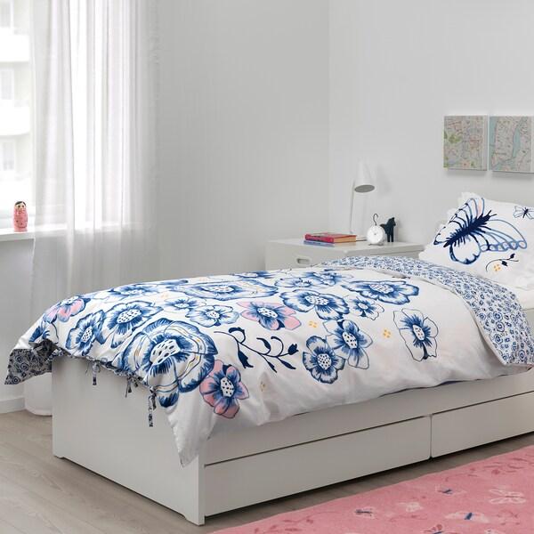 SÅNGLÄRKA Komplet pościeli, motyl/biały niebieski, 150x200/50x60 cm