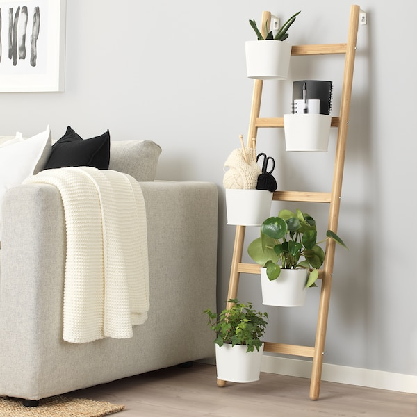 SATSUMAS stojak do roślin z 5 doniczkami bambus/biały 3 kg 36 cm 125 cm 12 cm