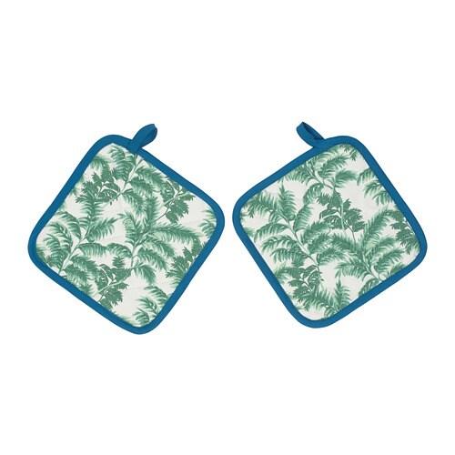 SILVERPOPPEL karstu trauku turētājs, balts ar palmām, 23x23 cm