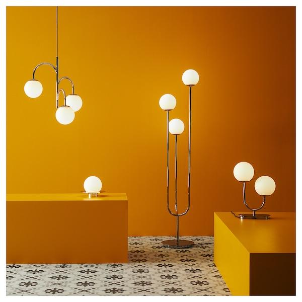 SIMRISHAMN Lampa wisząca, 3-ramienna, chrom/opalowa biel szkło