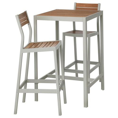 SJÄLLAND stół barowy i 2 stołki barowe, ogr. jasnobrązowy/jasnoszary 71 cm 71 cm 103 cm