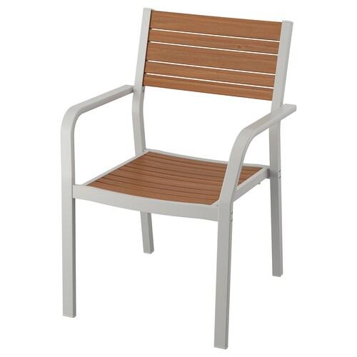 SJÄLLAND krzesło z podłokietnikami, ogr. jasnoszary/jasnobrązowy 110 kg 60 cm 60 cm 86 cm 44 cm 46 cm 43 cm