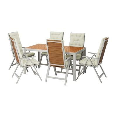 SJÄLLAND Stół+6 rozkł. krzeseł, na zewnątrz, jasnobrązowy/Kuddarna beżowy, 156x90 cm