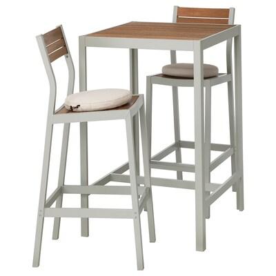 SJÄLLAND Stół barowy i 2 stołki barowe, ogr., jasnobrązowy/Frösön/Duvholmen beżowy