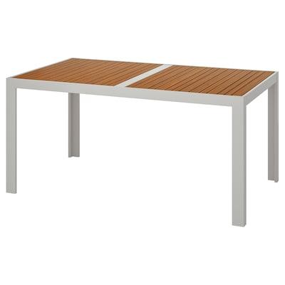 SJÄLLAND Stół, ogrodowy, jasnobrązowy/jasnoszary, 156x90 cm