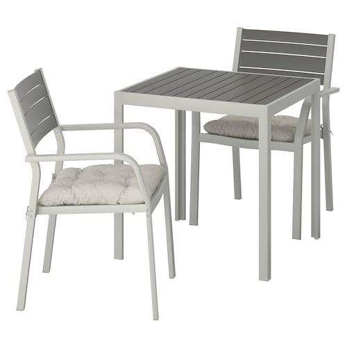 SJÄLLAND stół + 2 krzesła z podł, ogrodowe ciemnoszary/Kuddarna szary 71 cm 71 cm 73 cm