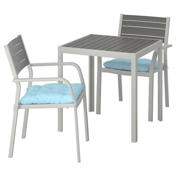 SJÄLLAND stół + 2 krzesła z podł, ogrodowe ciemnoszary/Kuddarna jasnoniebieski 71 cm 71 cm 73 cm