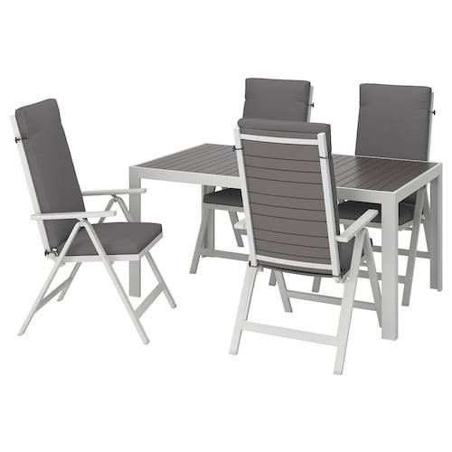 SJÄLLAND stół+4 rozkł. krzeseł, na zewnątrz ciemnoszary/Frösön/Duvholmen ciemnoszary 156 cm 90 cm 73 cm