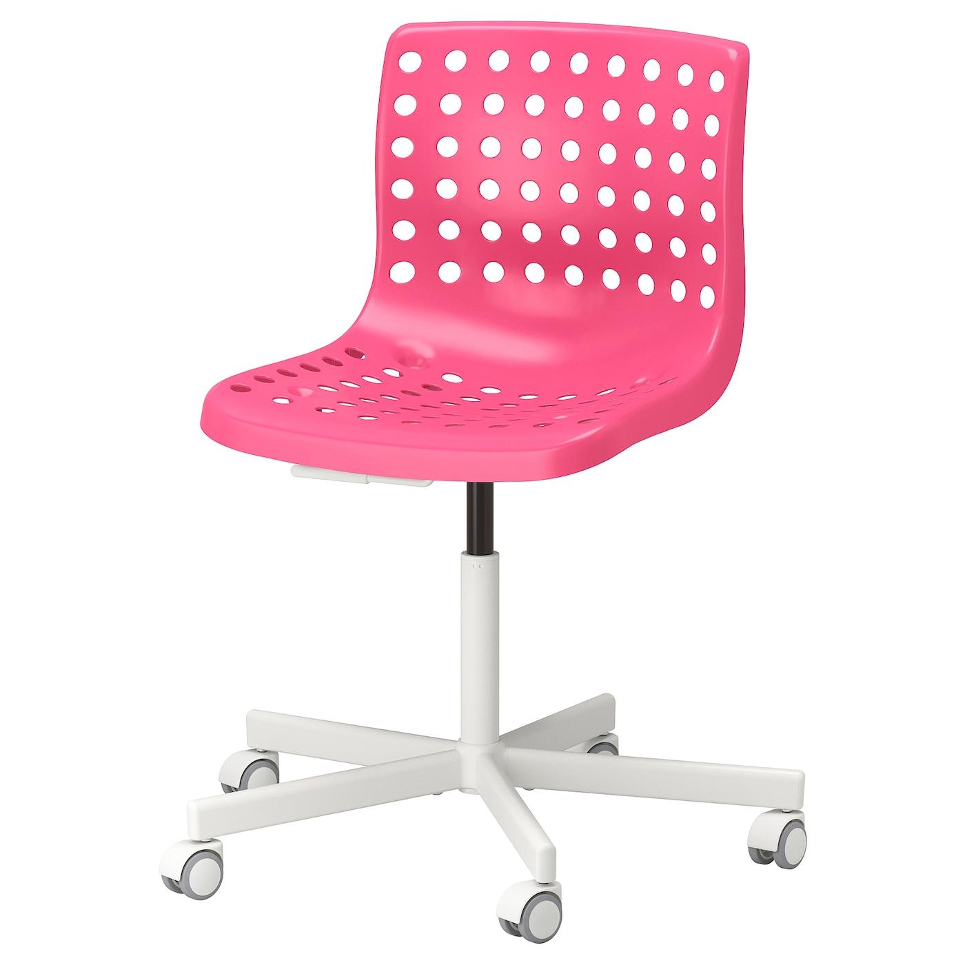 IKEA SKÅLBERG biało-różowe krzesło obrotowe z ramą SPORREN