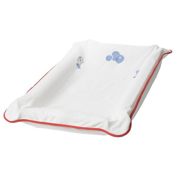 SKÖTSAM Pokrycie podkładki do pielęgnacji, wzór w jagody/biały, 83x55 cm