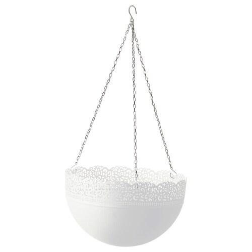 SKURAR wisząca doniczka do wewnątrz/na zewnątrz/biały 18 cm 5 kg 30 cm