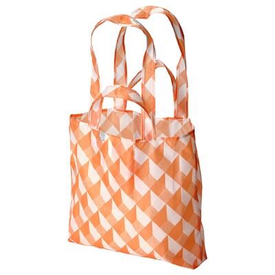 SKYNKE Torba na zakupy, biały/pomarańczowy