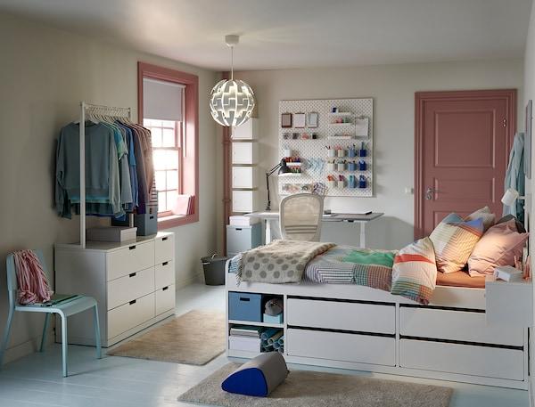 SLÄKT Rama łóżka z szufladami, biały, 90x200 cm