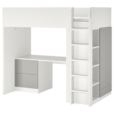 SMÅSTAD Łóżko na antresoli, biały szary/z biurkiem z 3 szufladami, 90x200 cm