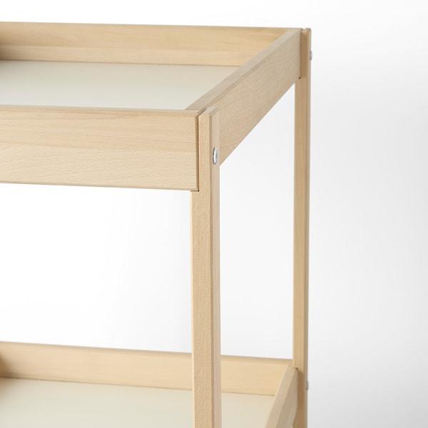 SNIGLAR Stół do przewijania, buk/biały, 72x53 cm