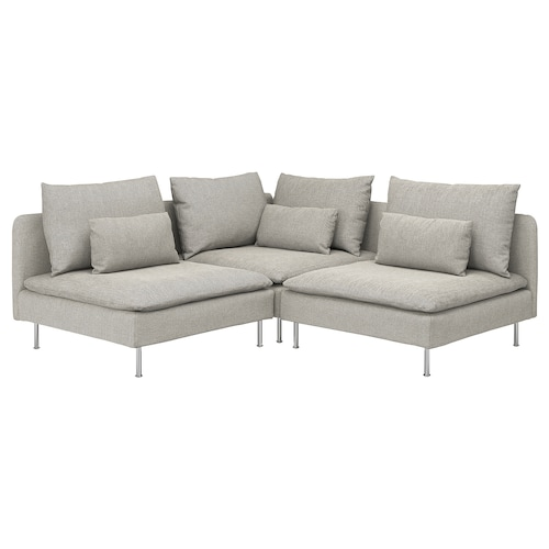 SÖDERHAMN sofa narożna 3-osobowa Viarp beż/brąz 83 cm 69 cm 99 cm 192 cm 192 cm 14 cm 70 cm 39 cm
