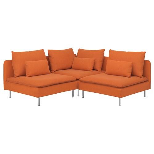 SÖDERHAMN sofa narożna 3-osobowa Samsta pomarańczowy 83 cm 69 cm 99 cm 192 cm 192 cm 14 cm 70 cm 39 cm