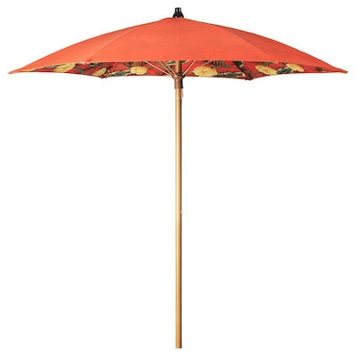 SOLBLEKT Parasol, kwiatowy wzór pomarańczowy, 185 cm