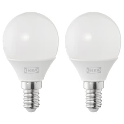 SOLHETTA Żarówka LED E14 250 lumenów, kula opalowa biel