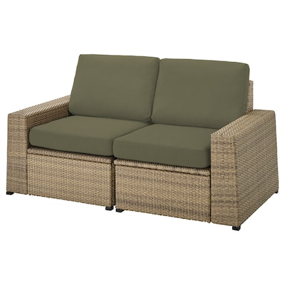 SOLLERÖN 2-osobowa sofa modułowa, zewn, brązowy/Frösön/Duvholmen ciemny beżowo-zielony, 161x82x88 cm