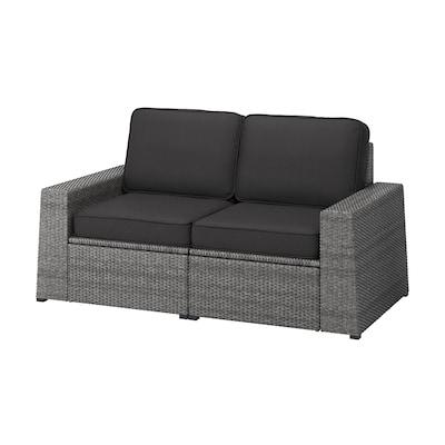SOLLERÖN 2-osobowa sofa modułowa, zewn, ciemnoszary/Järpön/Duvholmen antracyt