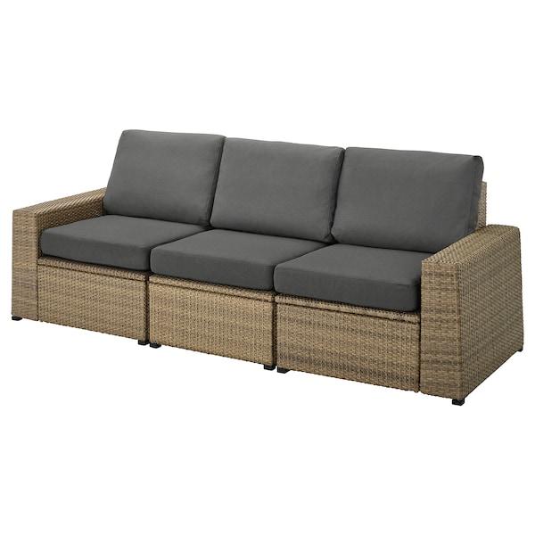 SOLLERÖN 3-osobowa sofa modułowa, zewn, brązowy/Frösön/Duvholmen ciemnoszary, 223x82x88 cm