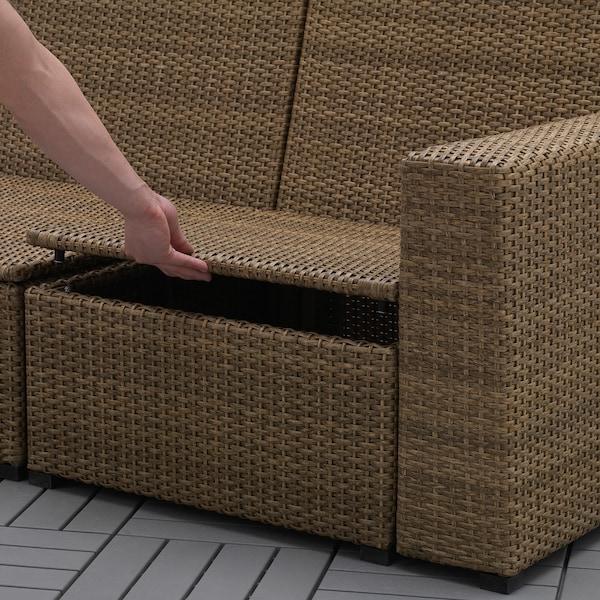 SOLLERÖN 3-osobowa sofa modułowa, zewn, z podnóżkiem brązowy/Frösön/Duvholmen ciemnoszary, 223x144x88 cm