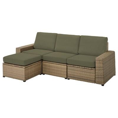 SOLLERÖN 3-osobowa sofa modułowa, zewn, z podnóżkiem brązowy/Frösön/Duvholmen ciemny beżowo-zielony, 223x144x88 cm