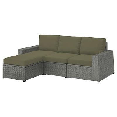 SOLLERÖN 3-osobowa sofa modułowa, zewn, z podnóżkiem ciemnoszary/Frösön/Duvholmen ciemny beżowo-zielony, 223x144x88 cm