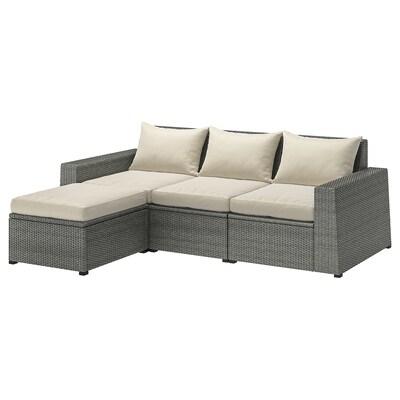 SOLLERÖN 3-osobowa sofa modułowa, zewn, z podnóżkiem ciemnoszary/Hållö beżowy, 223x145x82 cm