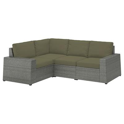 SOLLERÖN Modułowa sofa narożna 3-os zewn, ciemnoszary/Frösön/Duvholmen ciemny beżowo-zielony