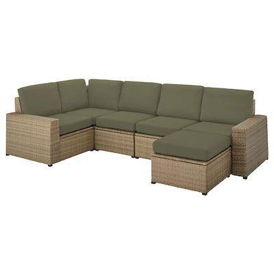 SOLLERÖN Modułowa sofa narożna 4-os zewn, z podnóżkiem brązowy/Frösön/Duvholmen ciemny beżowo-zielony