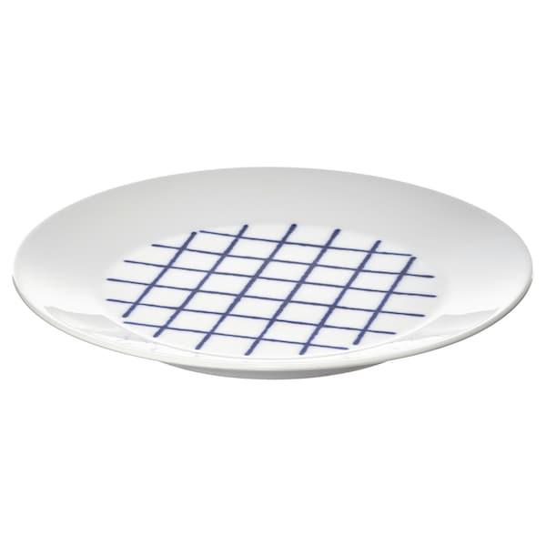 SPORADISK Talerz, biały/niebieski, 20 cm