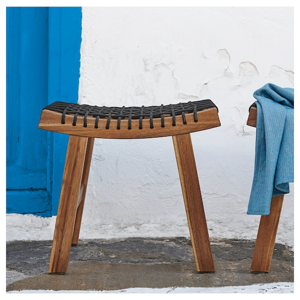 STACKHOLMEN Stołek, ogrodowy, bejca jasnobrązowa, 48x35x43 cm