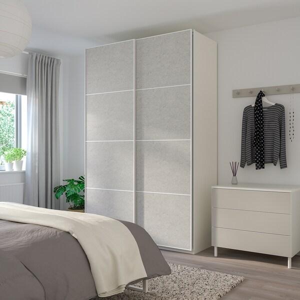 STORFOSNA 4 panele do ramy drzwi przesuwanych, jasnoszary filc, 100x236 cm