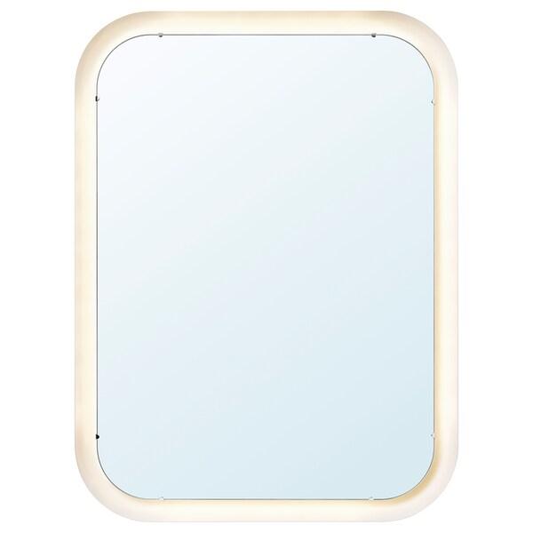 STORJORM Lustro z oświetleniem, biały, 80x60 cm