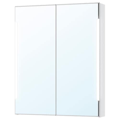 STORJORM szafka z lustrem, wbud. oświetlenie biały 80 cm 14 cm 96 cm