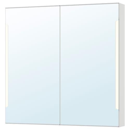 STORJORM szafka z lustrem, wbud. oświetlenie biały 100 cm 14 cm 96 cm