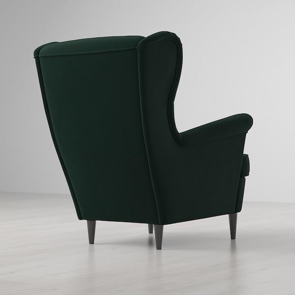 STRANDMON Fotel uszak, Djuparp ciemnozielony