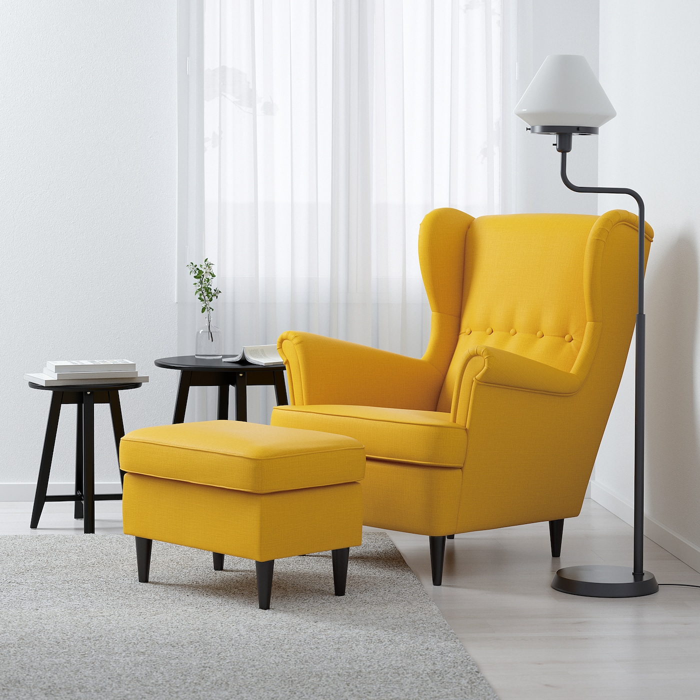 STRANDMON Fotel uszak, Skiftebo żółty