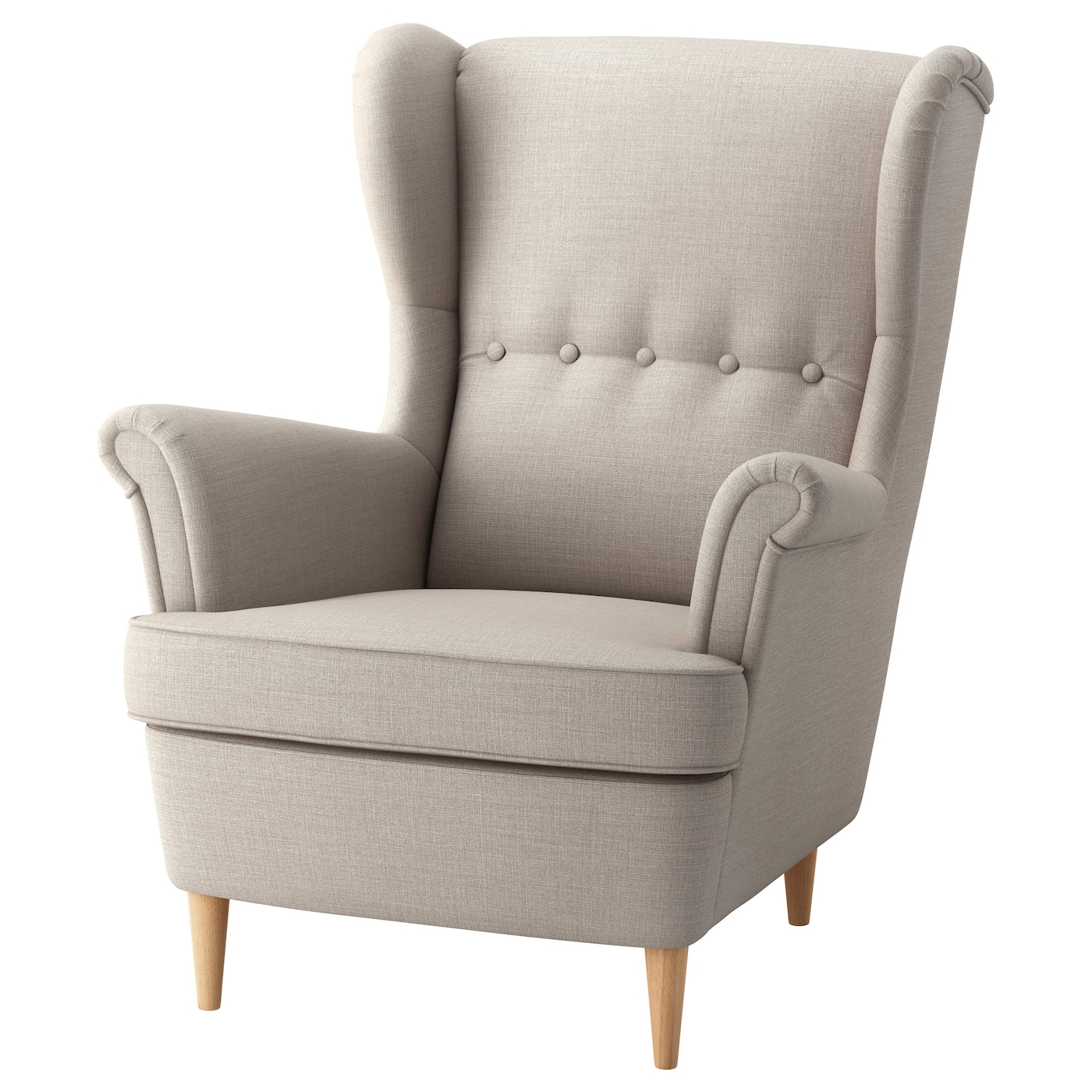 IKEA STRANDMON jasnobeżowy fotel uszak